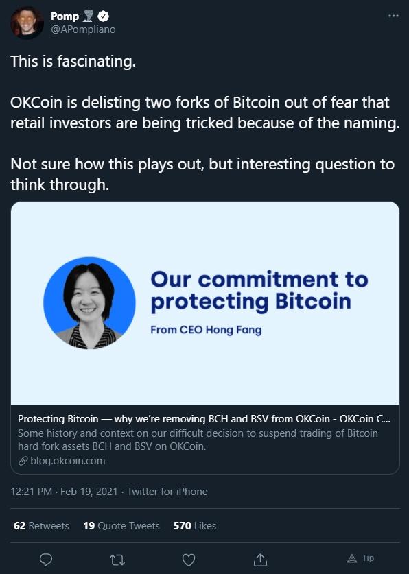 Anthony Pompliano fala sobre decisão da OKCoin. Fonte: Anthony Pompliano/Twitter