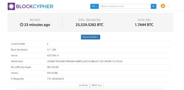 Exemplo de uma transação de Bitcoin na blockchain