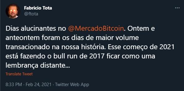 Fabrício Tota fala sobre volumes do Mercado Bitcoin. Fonte: Fabrício Tota/Twitter