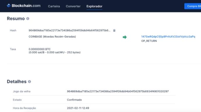 Informações de uma transação de Bitcoin na blockchain