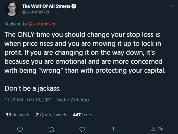 Scott Melker dá dicas sobre stop loss. Fonte: Scott Melker/Twitter