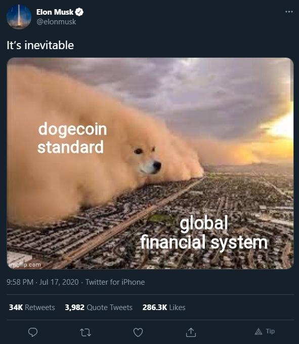 Dogecoin tomando o sistema financeiro global