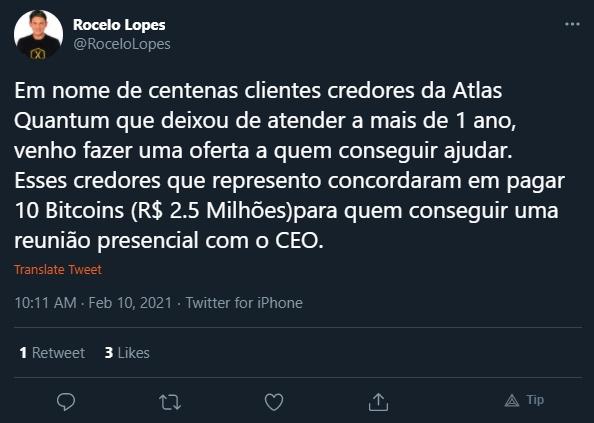 Rocelo Lopes fala em nome de credores da Atlas Quantum