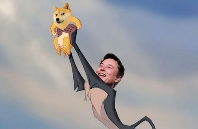 Dogecoin salta 40% em uma hora com apoio de Elon Musk