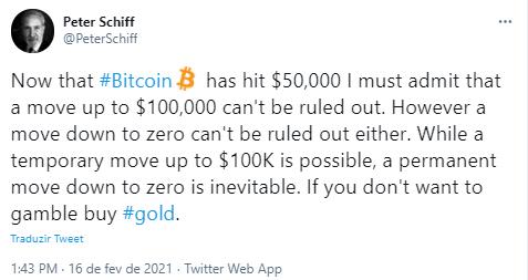 Schiff: Bitcoin pode chegar a US$ 100 mil
