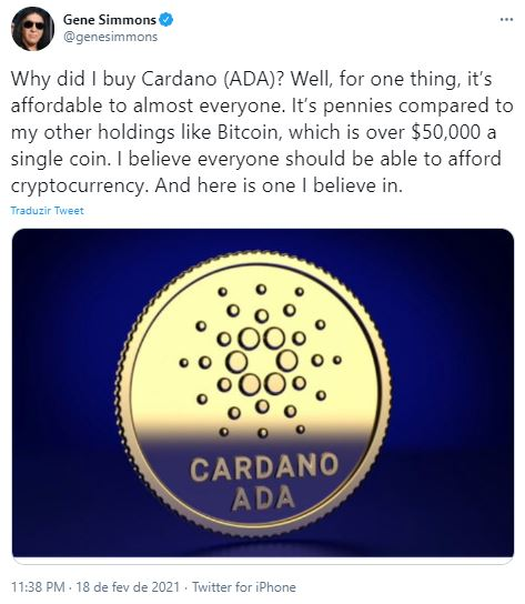 Baixista explica por que comprou Cardano. Fonte: Gene Simmons/Twitter