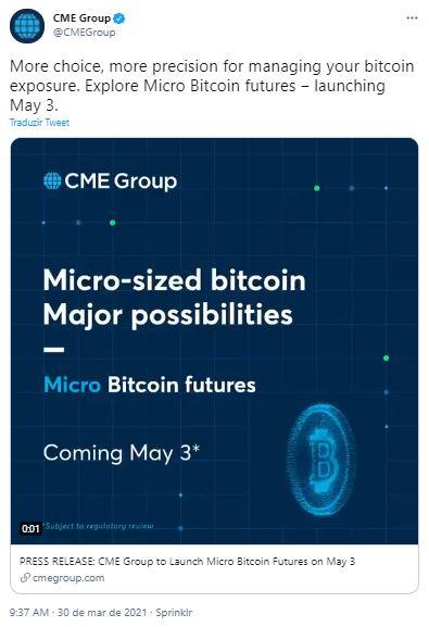 CME anuncia micro futuro de Bitcoin. CME/Twitter