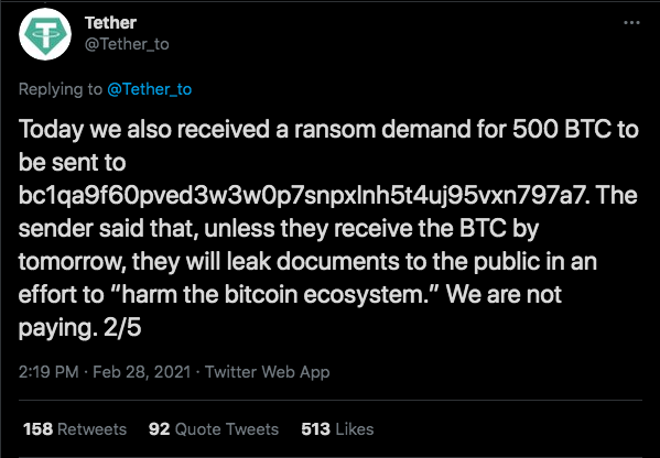 Golpistas exigiram quantia milionária. Fonte: Tether/Twitter.
