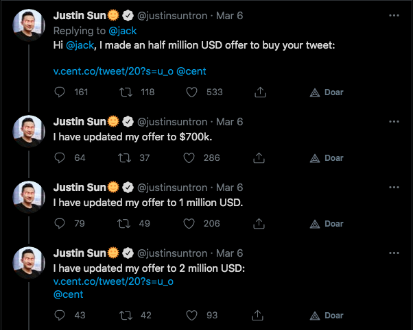 CEO da Tron faz oferta milionária por mensagem de Dorsey. Fonte: Justin Sun/Twitter