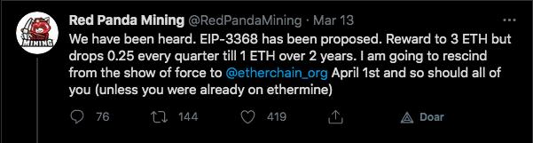 Minerador deu seu apoio prévio caso a proposta seja votada. Fonte: Red Panda Mining/Twitter