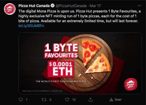 Pizza transformada em NFT. Fonte: Pizza Hut/Twitter.