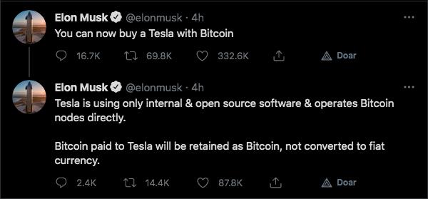 Musk anuncia novidades da Tesla em relação ao Bitcoin. Fonte: Elon Musk/Twitter