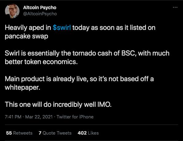 Trader elogia criptomoeda e BSC. Fonte: Altcoin Psycho/Twitter