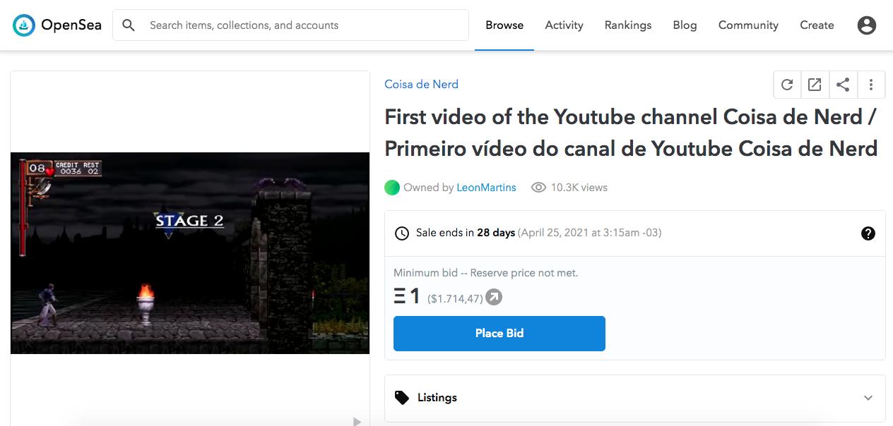 NFT com primeiro vídeo do canal Coisa de Nerd. Fonte: OpenSea.