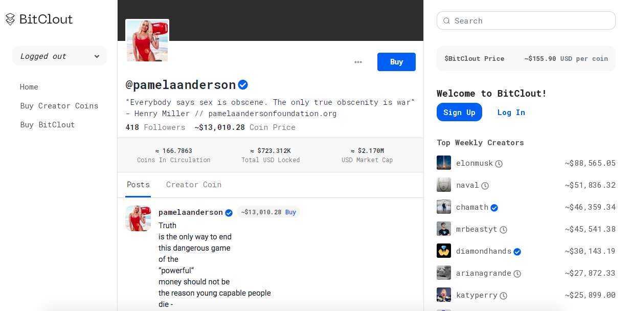 Perfil de Pamela Anderson com lista de usuários famosos da rede social (à direita). Fonte: BitClout