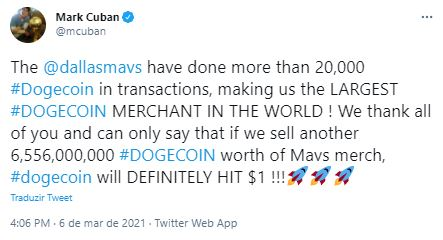 Cuban acredita na DOGE a US$ 1. Fonte: Mark Cuban/Twitter