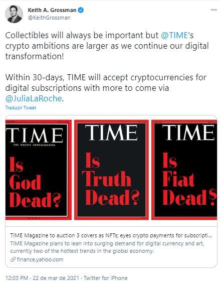 Time aceitará criptomoedas para assinatura. Fonte: Keith Grossman/Twitter