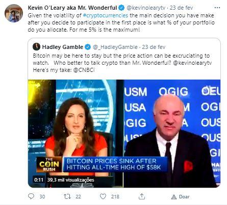 Âncora da CNBC comenta entrevista com O'Leary. Fonte: Kevin O'Leary/Twitter