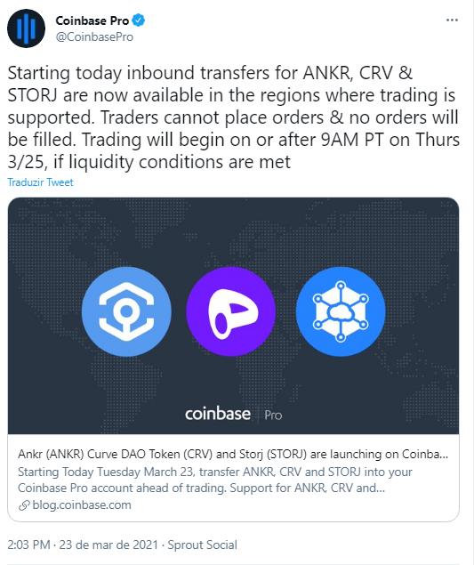 Coinbase anuncia ingresso de três criptomoedas à listagem. Fonte: Coinbase/Twitter