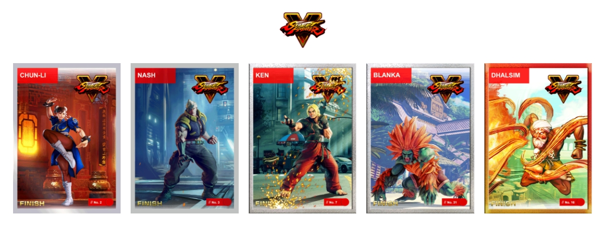 NFTs do Street Fighter 5. Fonte: streetfighter.cards