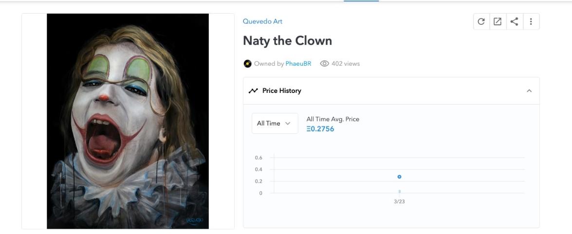 Naty the Clown, NFT por Fernando Quevedo. Fonte: OpenSea