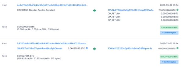 Example of transaction hashes contained in a block. Source: Blockchain.com