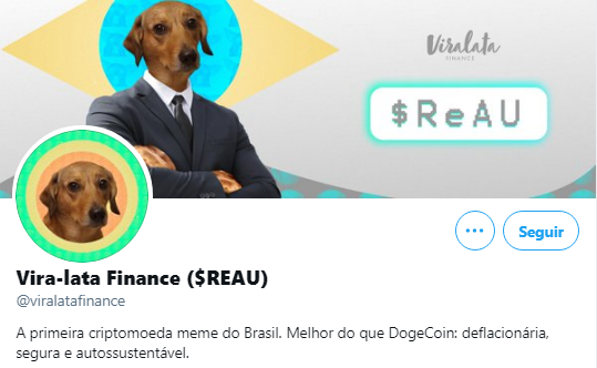Vira-Lata Finance (REAU) é a nova criptomoeda meme brasileira.  Fonte: Vira-lata Finance / Twitter