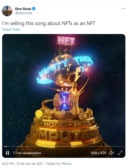Elon Musk anuncia leilão de NFT. Fonte: Elon Musk/Twitter