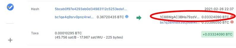 Transação de Bitcoin recebida por cliente da Altas. Fonte: Blockchain.com