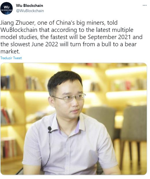 Minerador prevê fim da alta do Bitcoin. Fonte: Wu Blockchain/Twitter