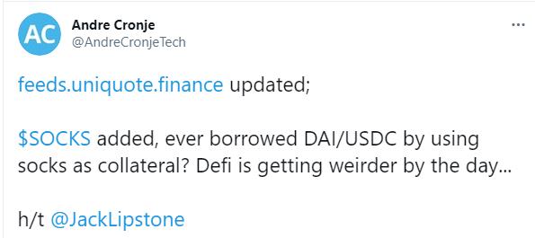 Fundador do protocolo Yearn Finance comenta sobre SOCKS ser usado como empréstimo. Fonte: Andre Cronje/Twitter