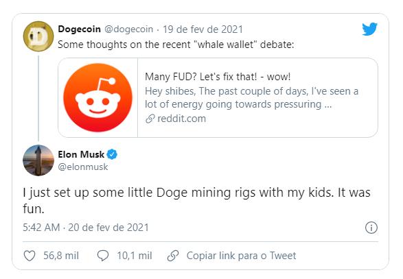 Elon Musk fala sobre minerar Dogecoin. Fonte: Elon Musk/Twitter