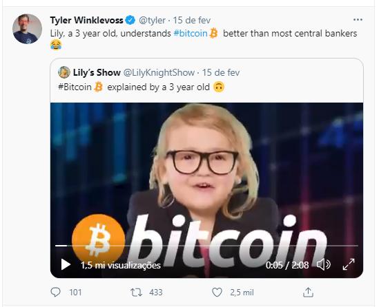 Tyler Winklevoss comenta sobre o sucesso de Lily Knight. Fonte: Tyler Winklevoss/Twitter