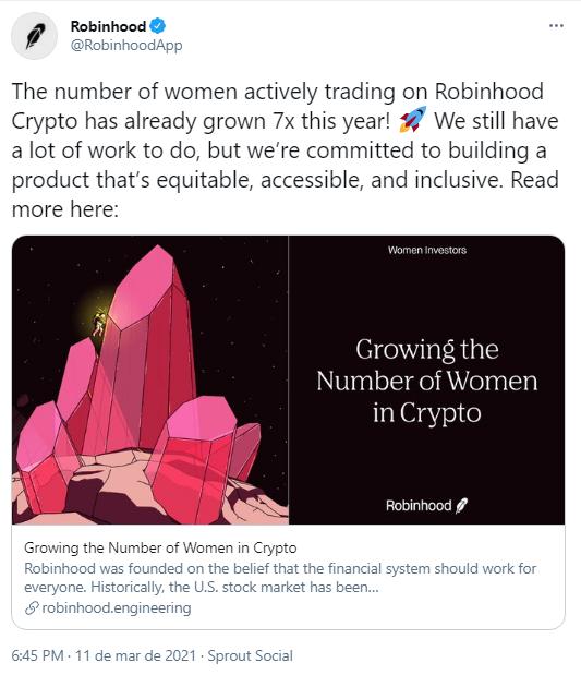 Aplicativo Robinhood comenta dados sobre negociações realizadas por mulheres. Fonte: Robinhood/Twitter