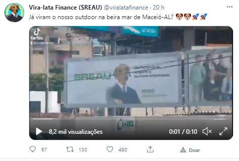 Outdoor em Maceió promove REAU. Fonte: Vira-lata Finance/Twitter